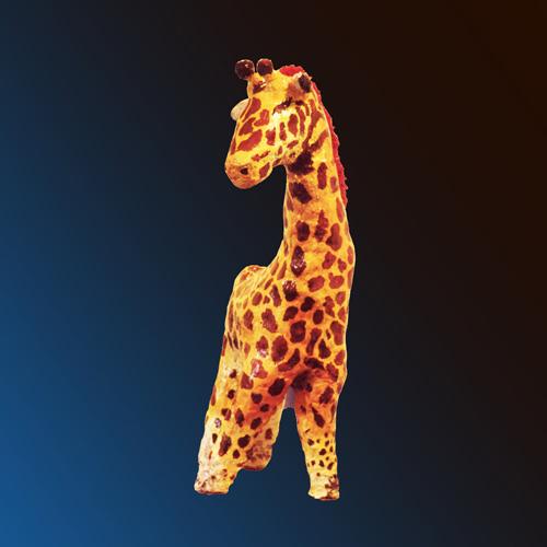 Une sculpture décor girafe figurative, monumentale,