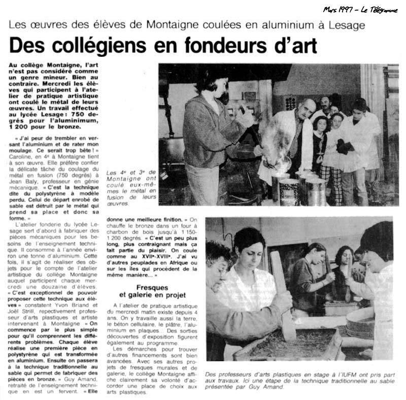 Sculpture en Bronze, Collégiens Sculpteurs et Fondeurs en Morbihan