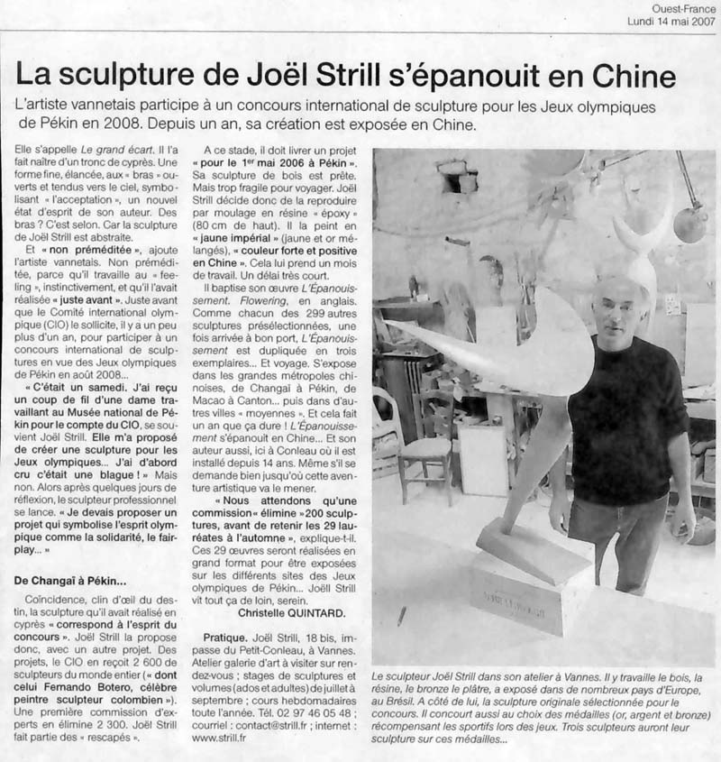 La Sculpture de Joël Strill s' épanouit en Chine
