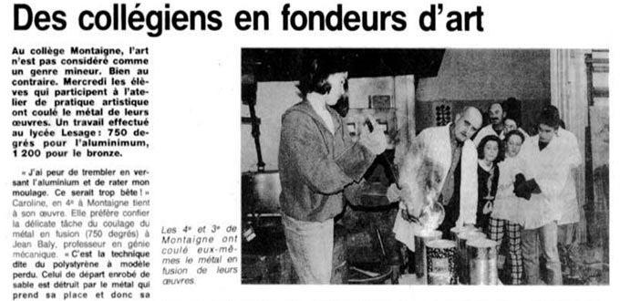 Les Collégiens Fondeurs d' Art, Articles, Presse