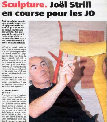 Sculpture Joêl Strill Sculpteur, en course pour les JO de Pékin-2008